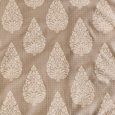 Pure Cotton Pastel Grey With White tree Motif Screen Print Fabric