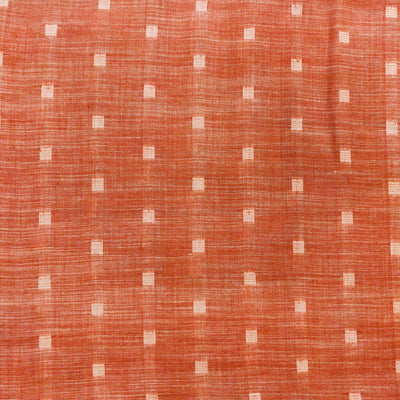 Pure Cotton Pastel Peach Handloom Soft Mangalgiri With Woven Self Tiny Squares