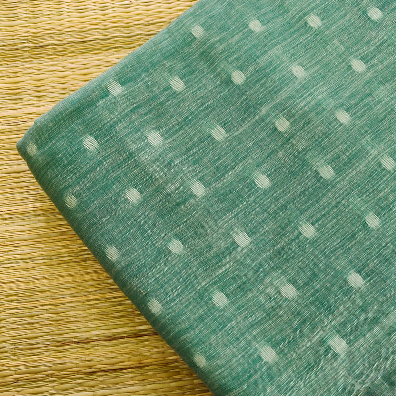 Pure Cotton Pastel Teal Handloom Soft Mangalgiri With Self Woven Dots