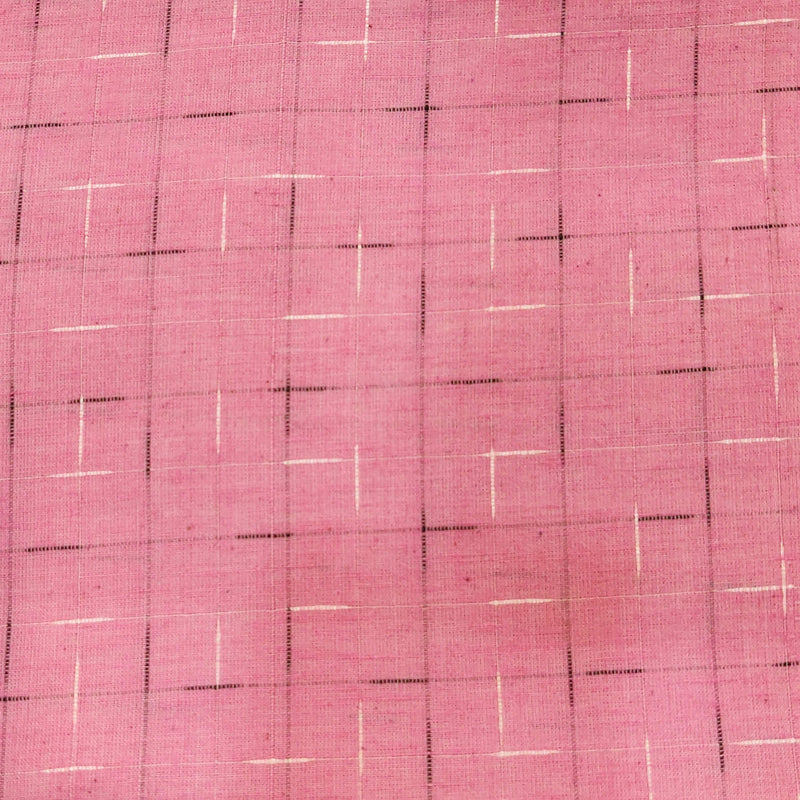 Pure Cotton Pink Handloom With White And Black Tiny Slub Woven Fabric