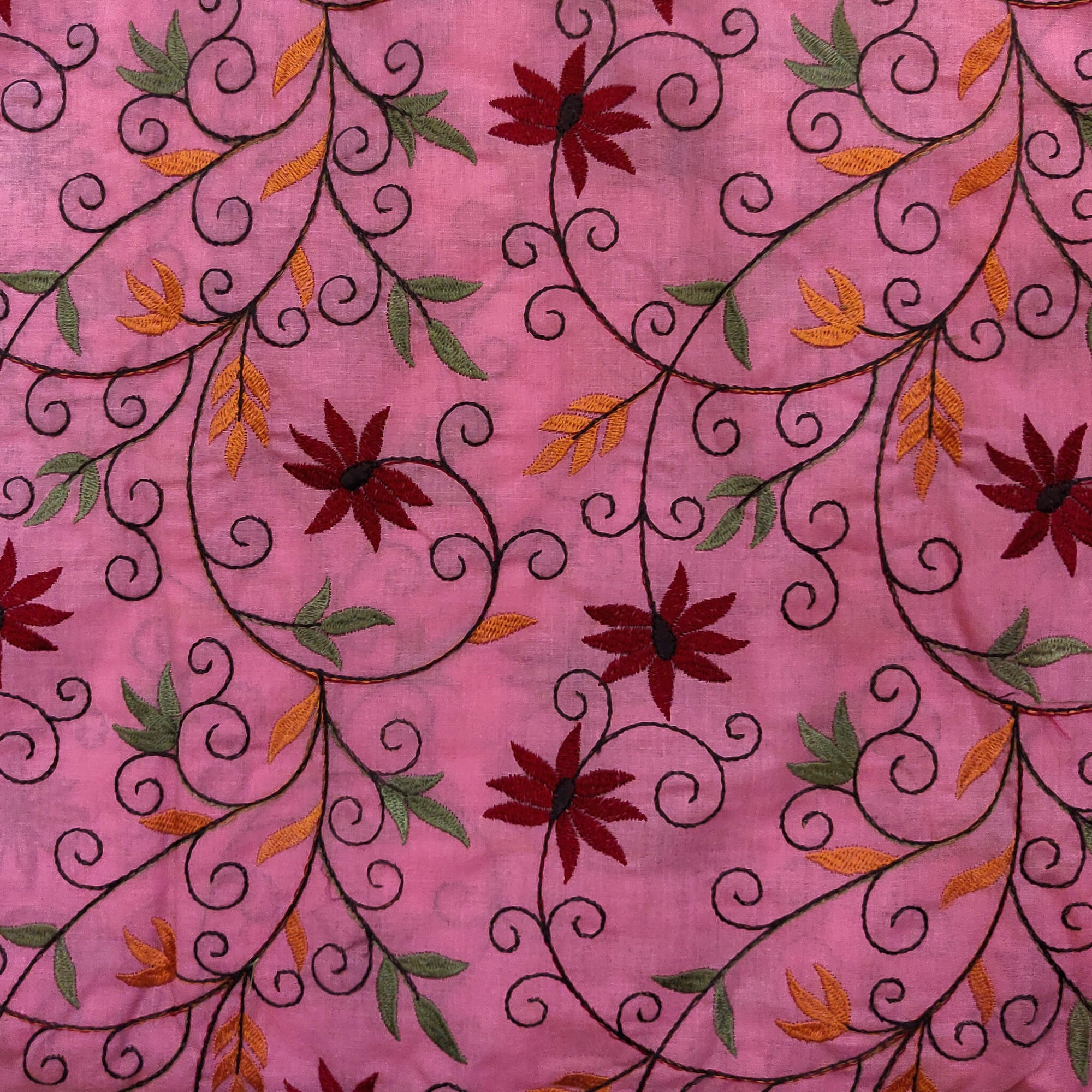 Pure Cotton Pink With Maroon Flower Jaal Embroidered Fabric