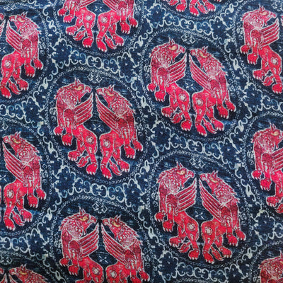 Pure Cotton Rayon Blue With Reddish Pink Lions Motif Screen Print Fabric