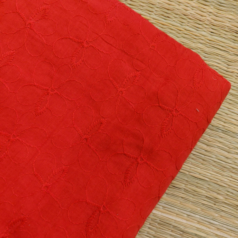 Pure Cotton Red Brown With Self Thread Embroidery Fabric