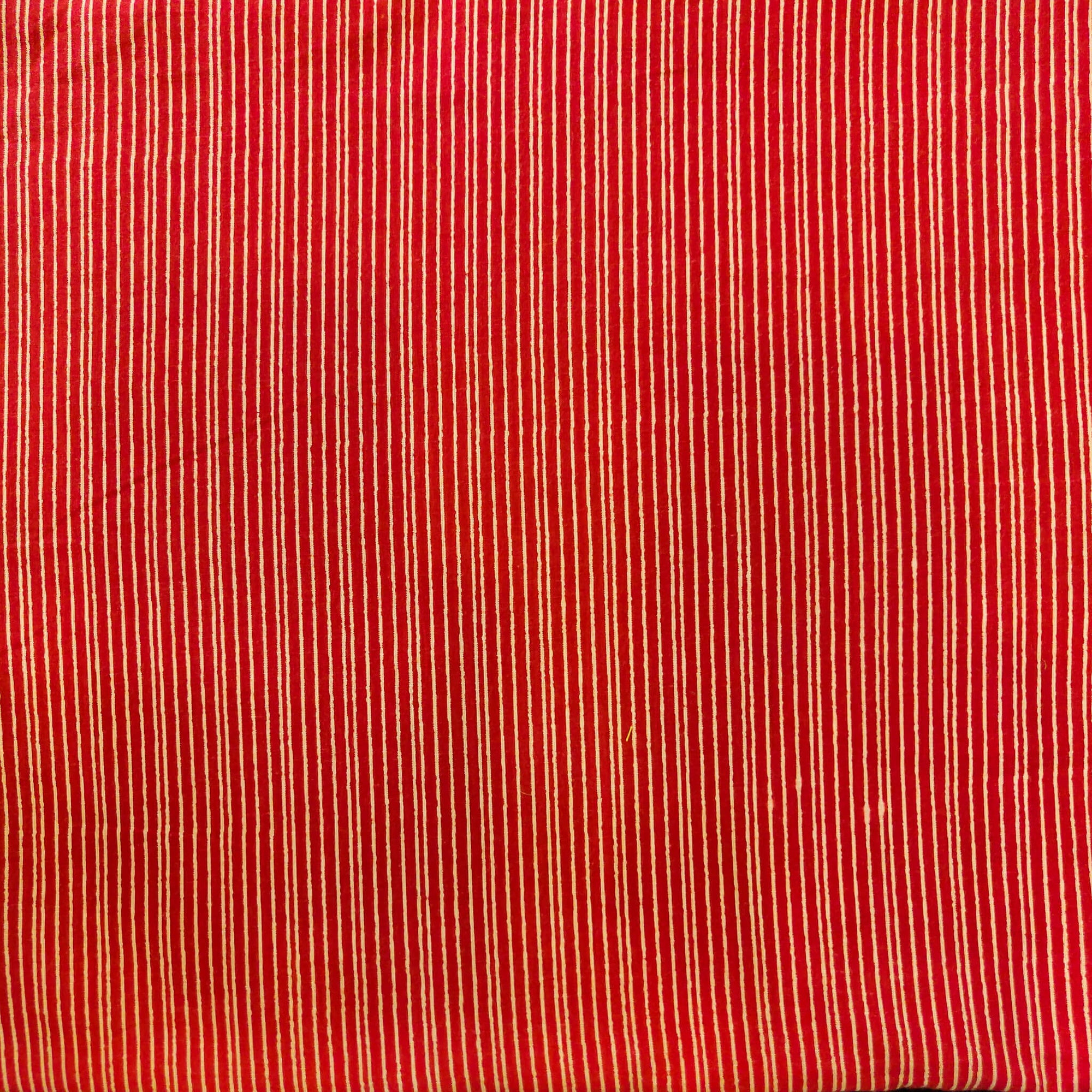 Pure Cotton Red With Tiny Cream Lines Screen Print Fabric