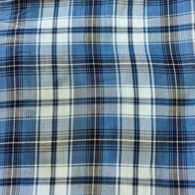 Pure Cotton Reversible Blue Checks With Light Blue Stripes Printa