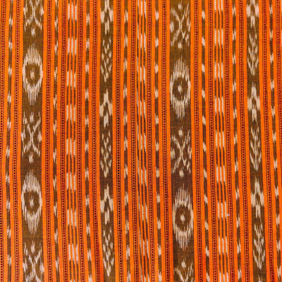 Pure Cotton Sambhalpuri Ikkat  Intricate Weaved Stripes Orange Hand Woven Fabric