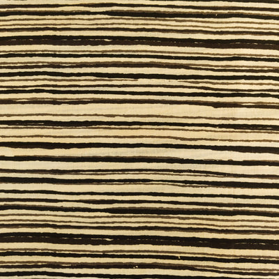 Pure Cotton Screen Print Fabric With Black Horizontal Stripes Hand Block Print Fabric