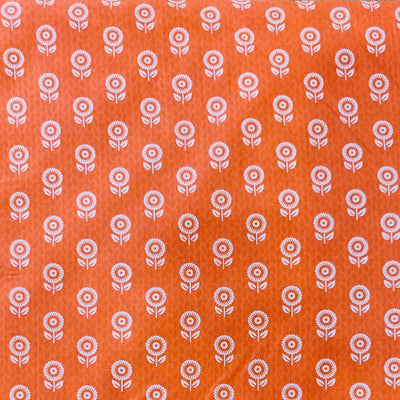 Pure Cotton Screen Print Peach With Tiny White One Flower Plant Fabric