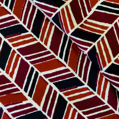 Pure Cotton Screen Print With Maroon Orange And Black Rectangle Stripes
