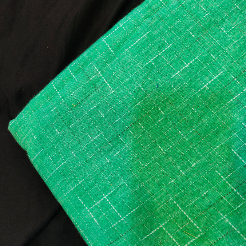 Pure Cotton Sea Green Handloom With White And Black Tiny Slub Woven Fabric