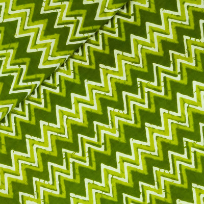 Pure Cotton Shades Of Green Zig Zag Screen Print Fabric