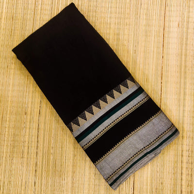 Pure Cotton Soft Mangalgiri Black With Big Intricate Border Hand Woven Fabric