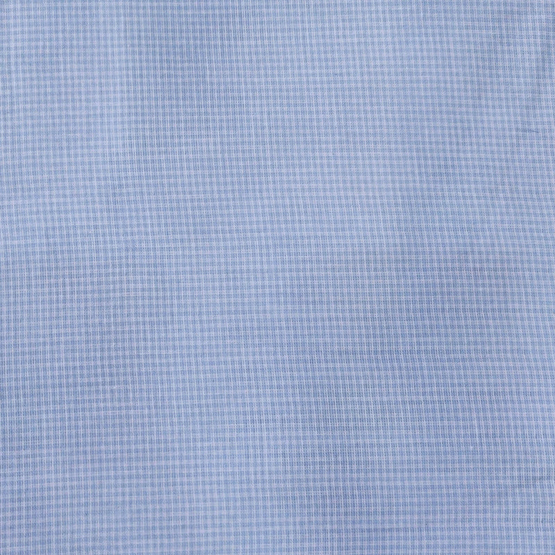 Pure Cotton Soft Mul Cotton Light Blue Checks Woven Fabric