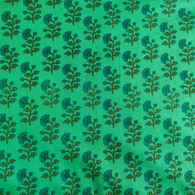 Pure Cotton Teal Jaipuri With Tiny Flower Motifs Hand Block Print Fabric