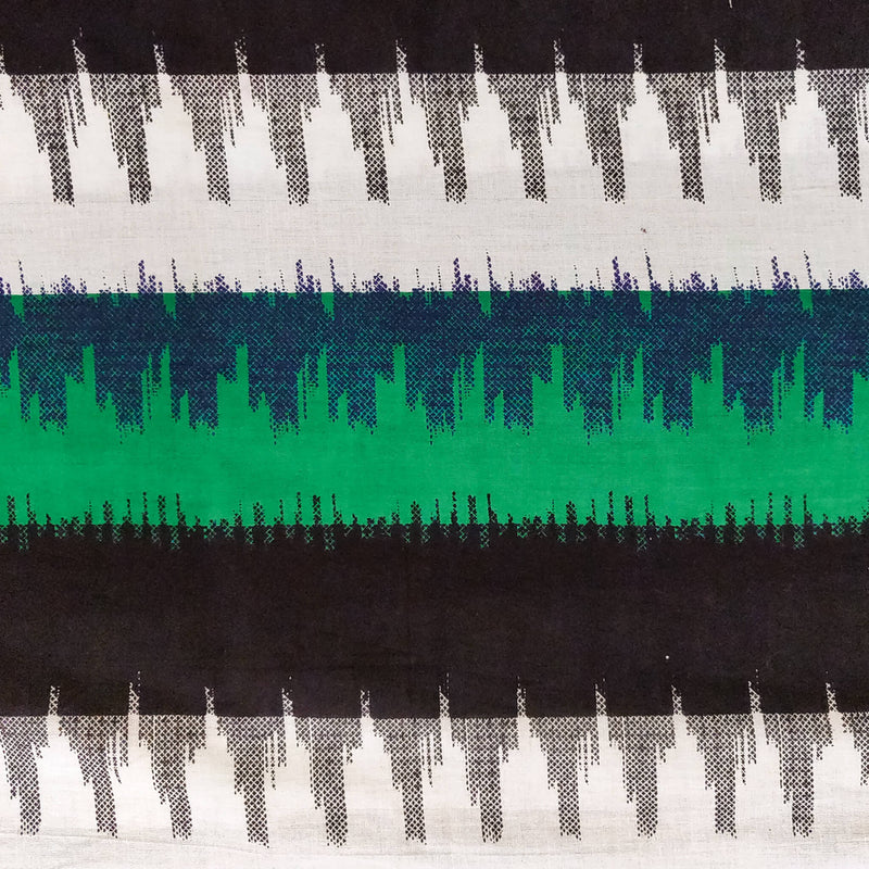 Pure Cotton  White Green And Black Multi Weaves Ikkat Screen Print Fabric