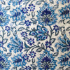 Pure Cotton White Jaipuri With Blue Flower Jaal Hand Block Print Fabric