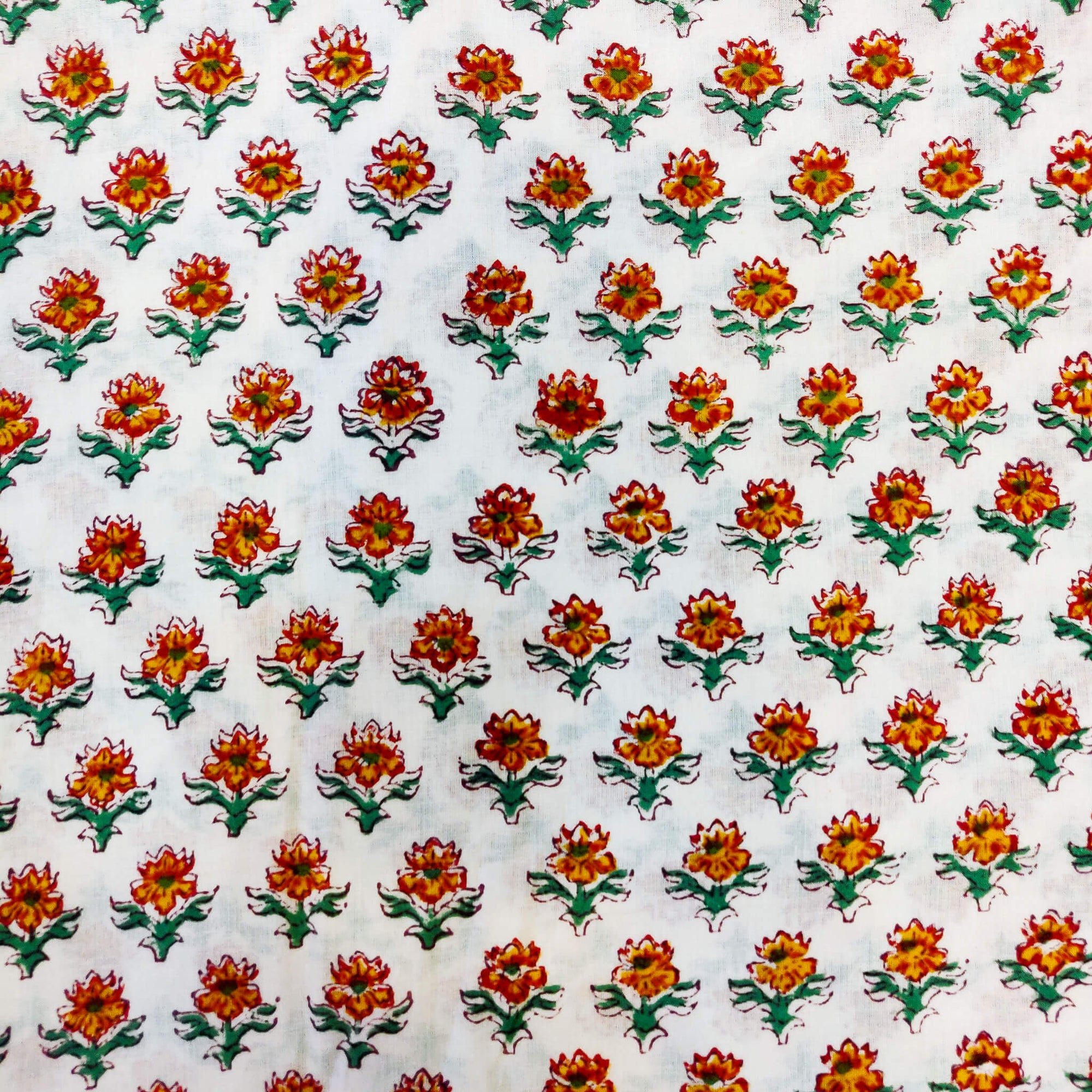 Pure Cotton White Jaipuri With Tiny Red Orange Flower Plant Hand Block Print Fabric
