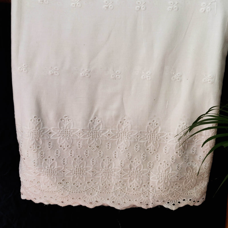 Pure Cotton White  With Eight Petal Flower Cutwork Jaal Chiken Embroidery At The End
