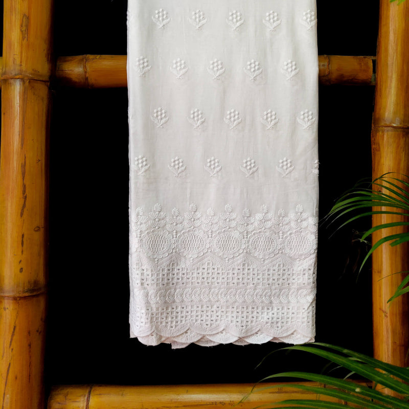 Pure Cotton White  With Floral Plant And Cutwork Checks Chiken Embroidery At The Enda
