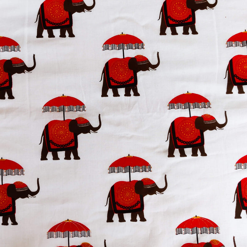 Pure Cotton White With Umbrella Elephant Screen Print Fabric