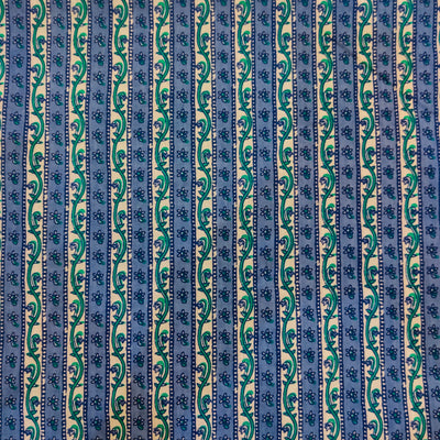 Pure Cotton With Blue Intricate Stripes Screen Print Fabric