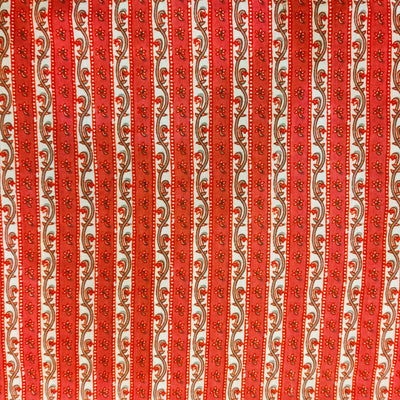Pure Cotton With Peachy Pink Intricate Stripes Screen Print Fabric