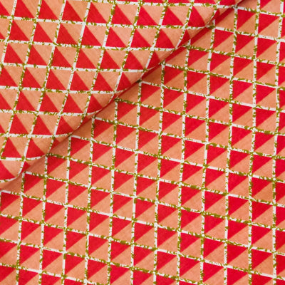 Pure Cotton With Shades Of Pink Triangles Screen Print Fabric