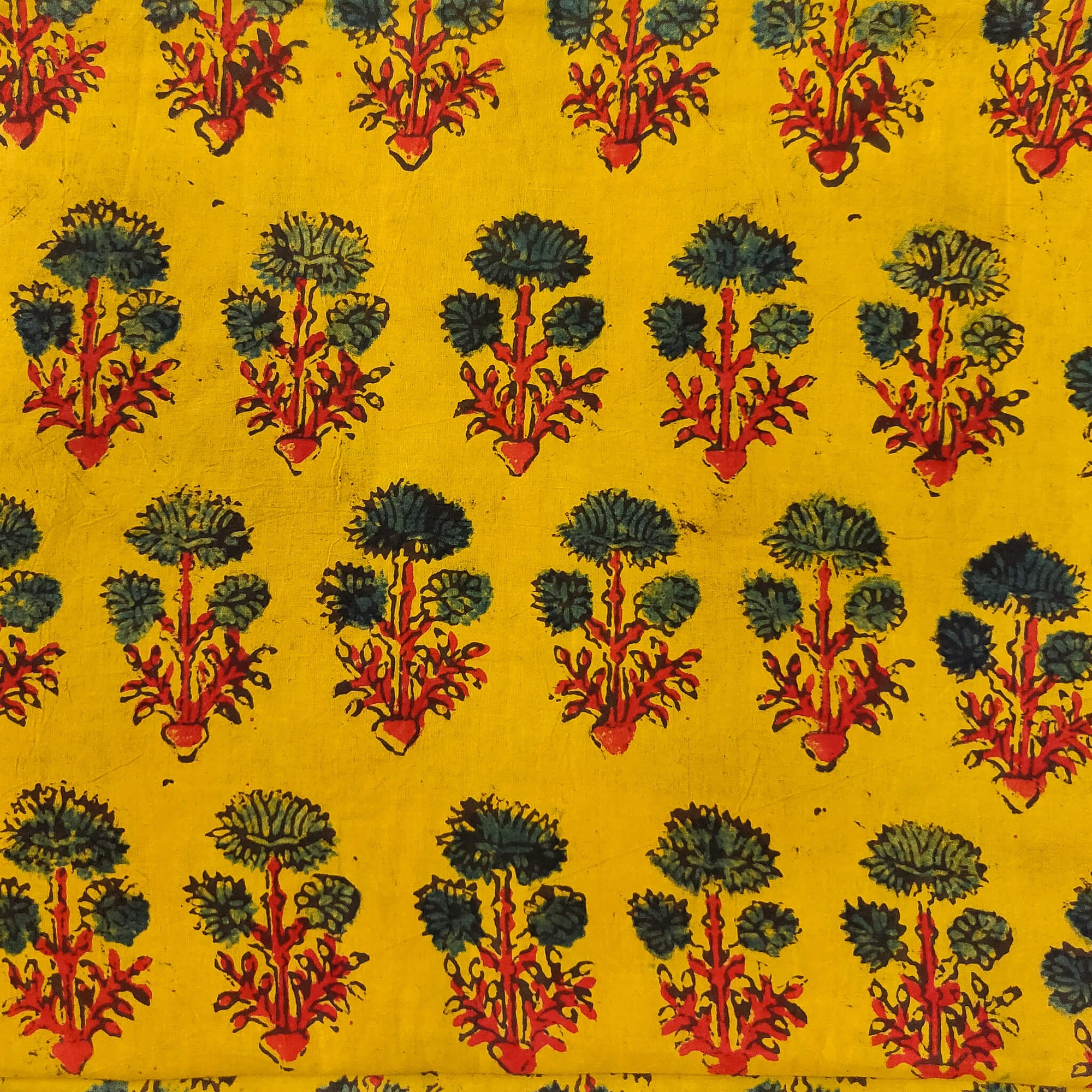 Pure Cotton Yellow Ajrak With Three Green Flower Plant Hand Block Print Fabric