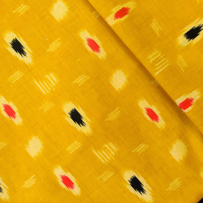 Pure Cotton Yellow With Cream Black And Maroon Screen Print Fabric
