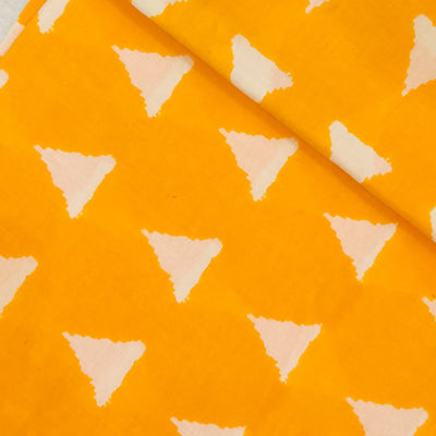 Pure Cotton Yellow With Cream Triangle Screen Print Fabric