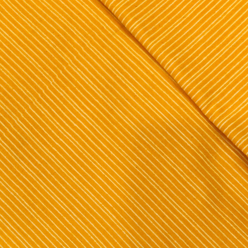 Pure Cotton Yellow With Tiny Cream Lines Screen Print Fabric