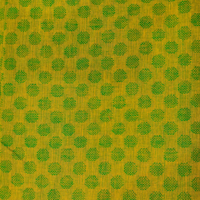 Pure Cotton Yellowish Green Handloom With Green Polka Weaves Hand Woven Fabric