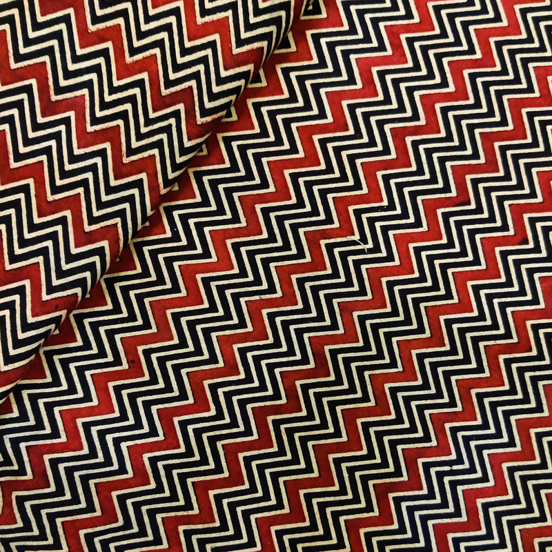 Pure Cottton Dabu Black With Rust And Cream Zigzag Hand Block Print Fabric