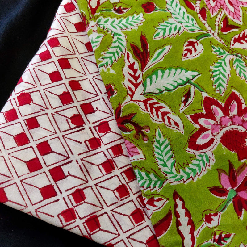 Pure Jaipuri Cotton Green With Jaal Hand Block Print Fabric With White And Red Tiny Cube Hand Block Print Bottom Fabric