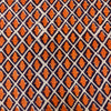 Pure Jaipuri Cotton White With Orange Rhombus Hand Block Print Fabric