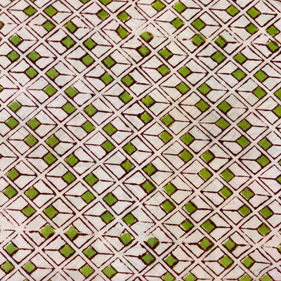Pure Jaipuri Cotton With Green And Transparent Cubes Hand Block Print Fabric