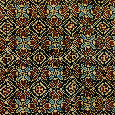 Pure Modal Silk  Ajrak Black With Blue And Maroon Intricate Tile Hand Block Print Fabric