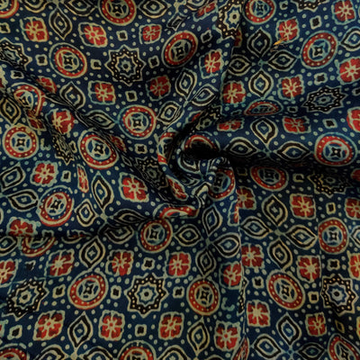 Pure Modal Silk Ajrak Blue With Maroon And Cream Tile Hand Block Print Fabric