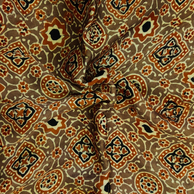 Pure Modal Silk Ajrak Brown Kashish With Red And Black Intricate Tile Hand  Block Print Fabric