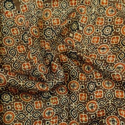 Pure Modal Silk Ajrak Brown With Cream And Orange Tile Hand Block Print Fabric