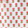 Pure Mul Cotton Jaipuri White With Pink  Single Flower Plant Hand Block Print Fabric