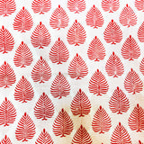 Pure Mul Cotton White With Red Leaves Hand Block Print Fabric