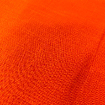 Pure Slub Cotton Bright Orange Handloom Fabric