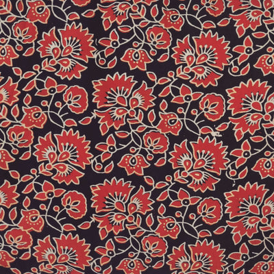Pure Soft Modal Cotton Ajrak  Black With Rust  Flower Jaal Hand Block Print Fabric