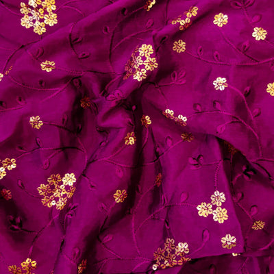 Purple Chinon With Sequence Flower Jaal Embroidered Fabric