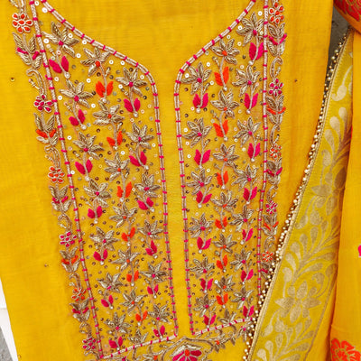 RITU- Spring Mustard Chanderi With Zardozi Embroidered Suitpiece And A Chiffon Banarasi Dupatta