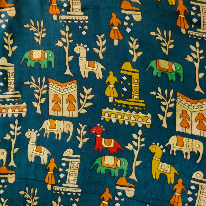 Rayon Blue With A Tribal Village Screen Print Fabric