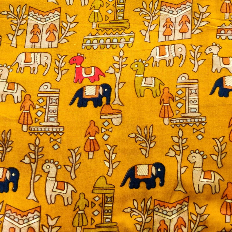 Rayon Mustard With A Tribal Village Screen Print Fabric