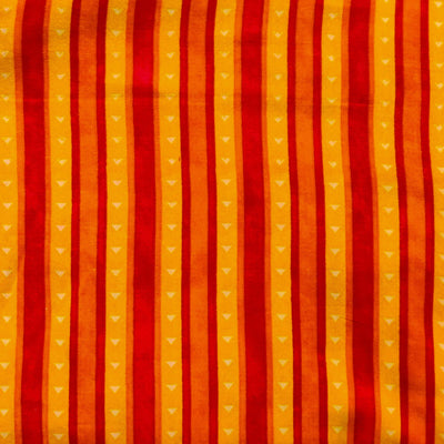 Rayon With Orange Yellow And Red Stripes Screen Print Fabric