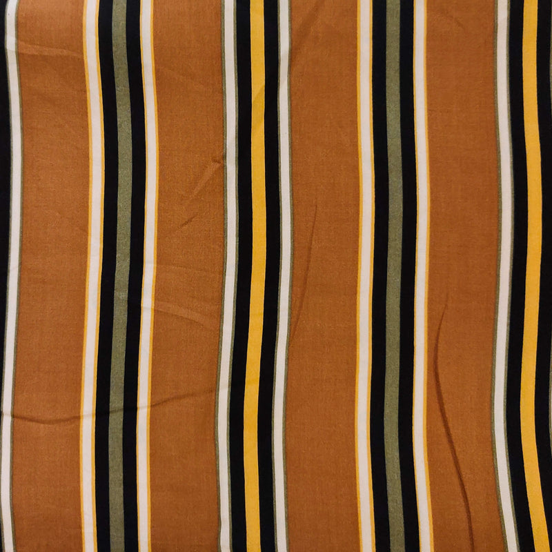 Rayon Brown Green White And Black Stripes